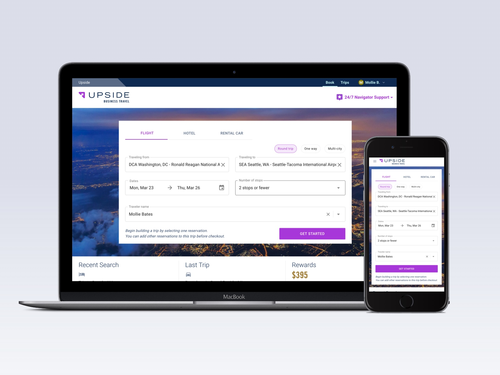 Upside Business Travel homepage on mobile and desktop